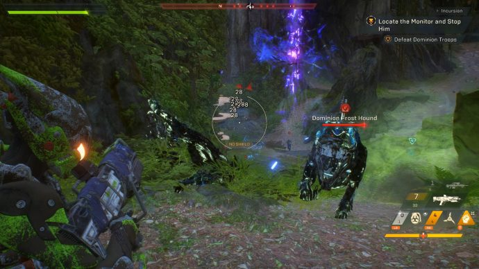 Some Dominion Frosthounds are charging at the Javelin.