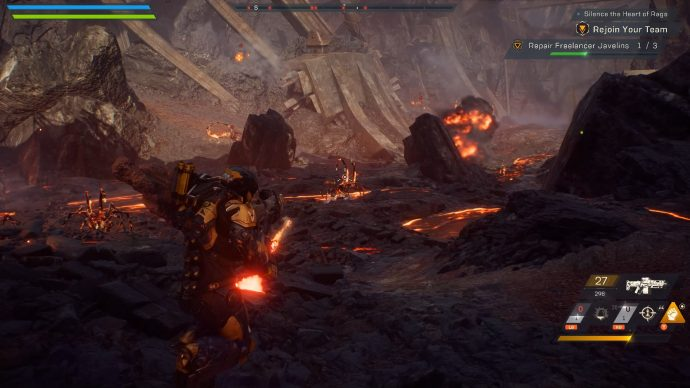 Player is shooting a flaming insect.