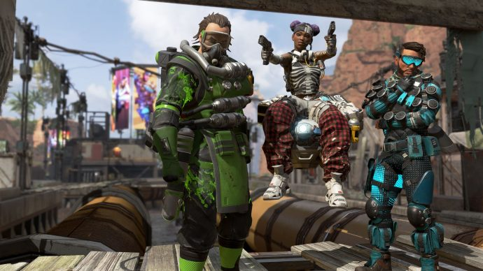 From Left to Right, Apex Legends' Caustic, Lifeline and Mirage.