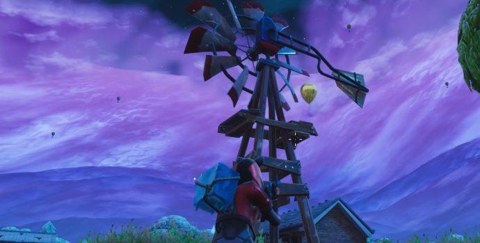 Golden Balloon on a windmill in Fatal Fields.