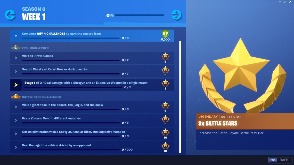 Season 8 week 1 challenges in Fortnite.