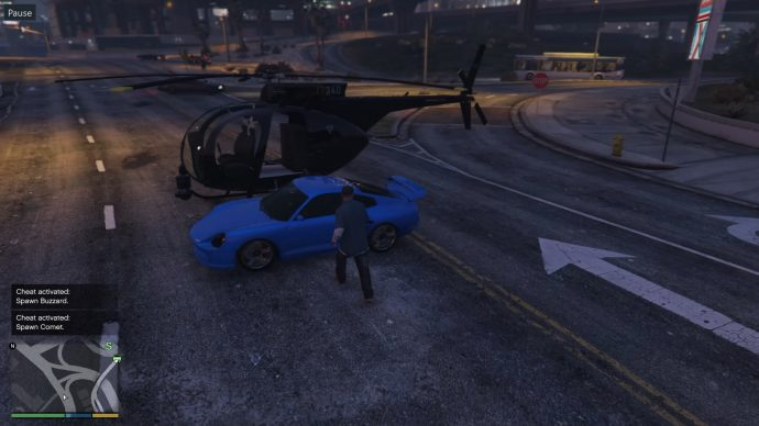 Spawning a Buzzard and a Comet via cheats in GTA 5.