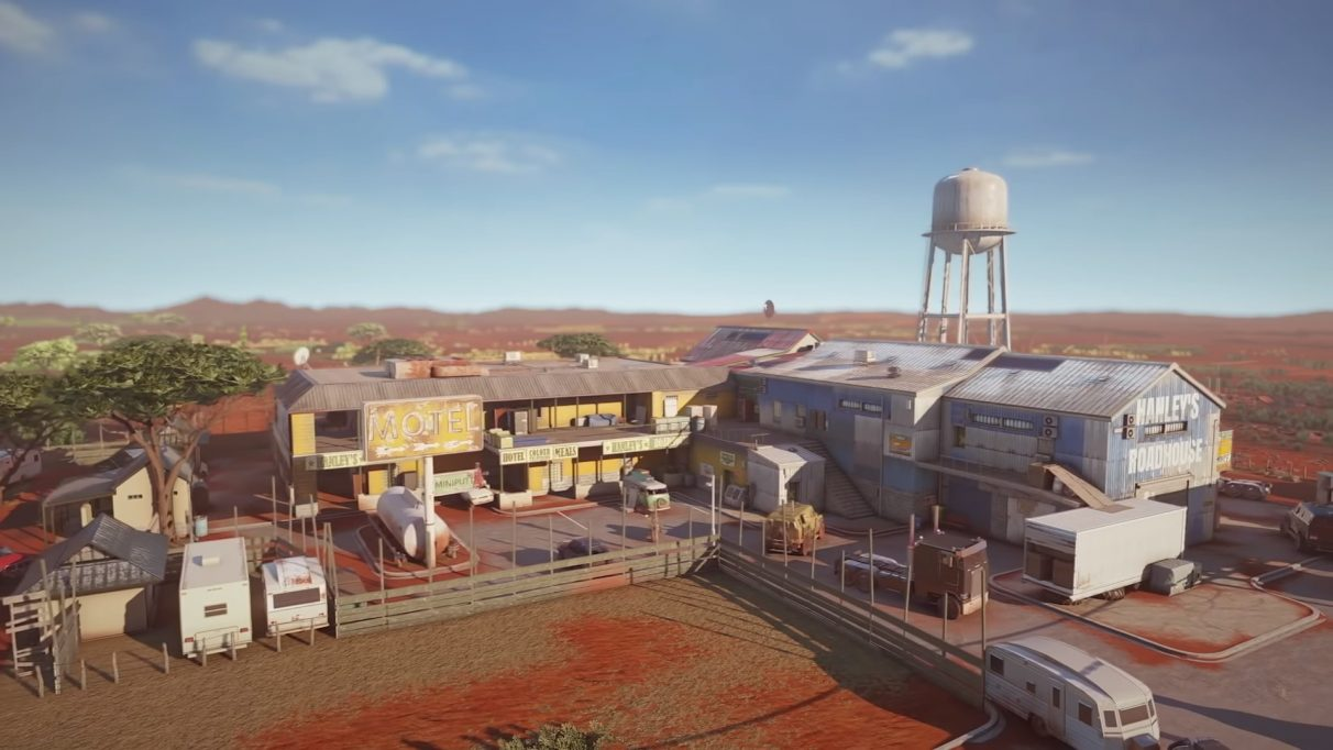 An aerial view of the Outback map coming to Rainbow Six Siege.
