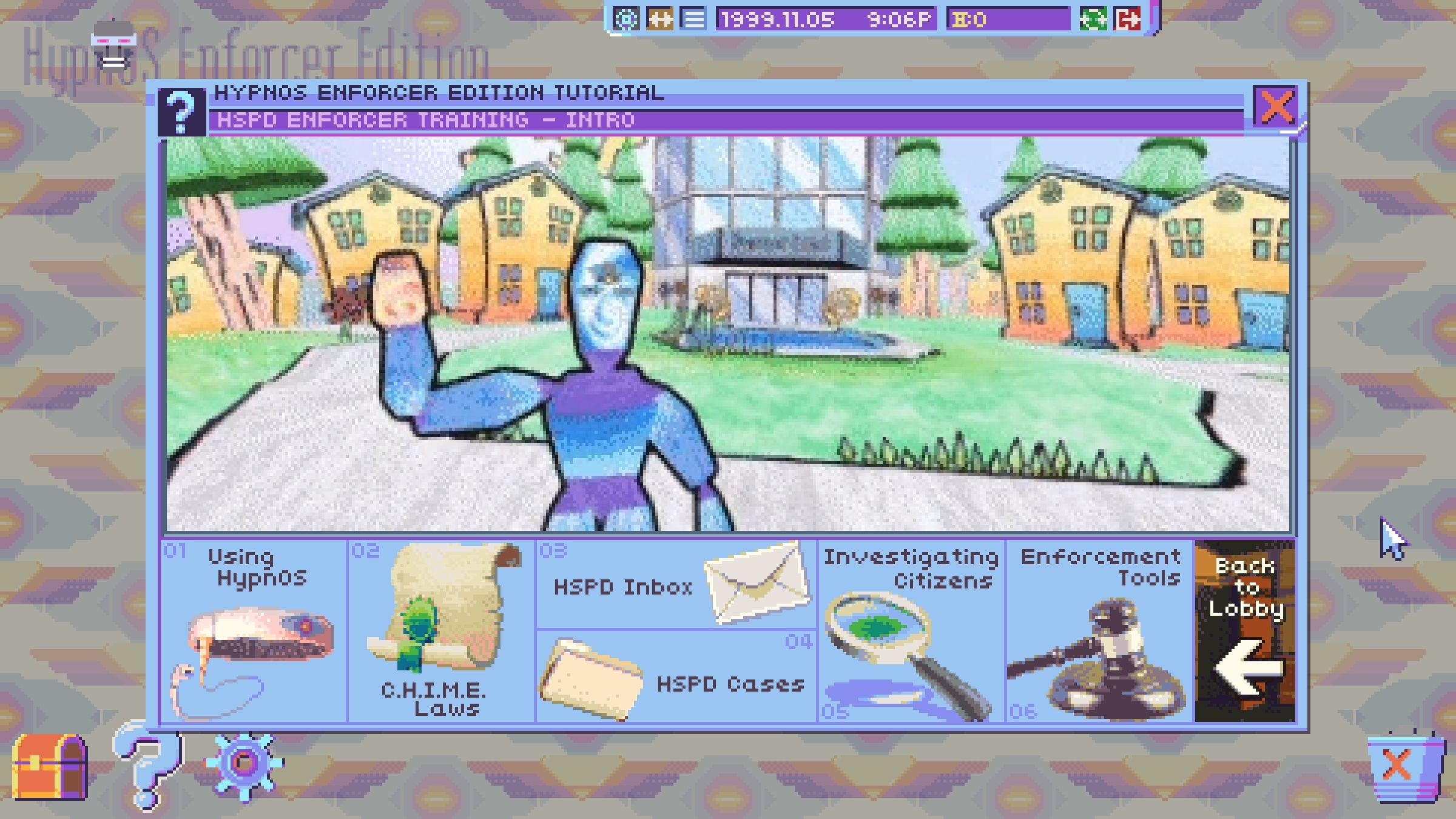 A screenshot showing the Hypnos Enforcer Tutorial teaching you to use your enforcement tools in Hypnospace Outlaw