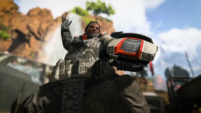 A screenshot of Gibraltar during one of his finishing moves in an Apex Legends match.