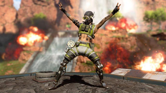 A screenshot of Octane striking a pose in an Apex Legends trailer.