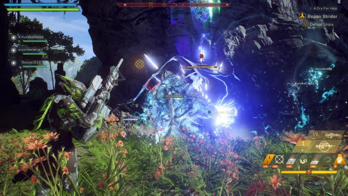 An Ursix being hit by an electrical attack from a nearby Storm Javelin. The Interceptor is reloading.
