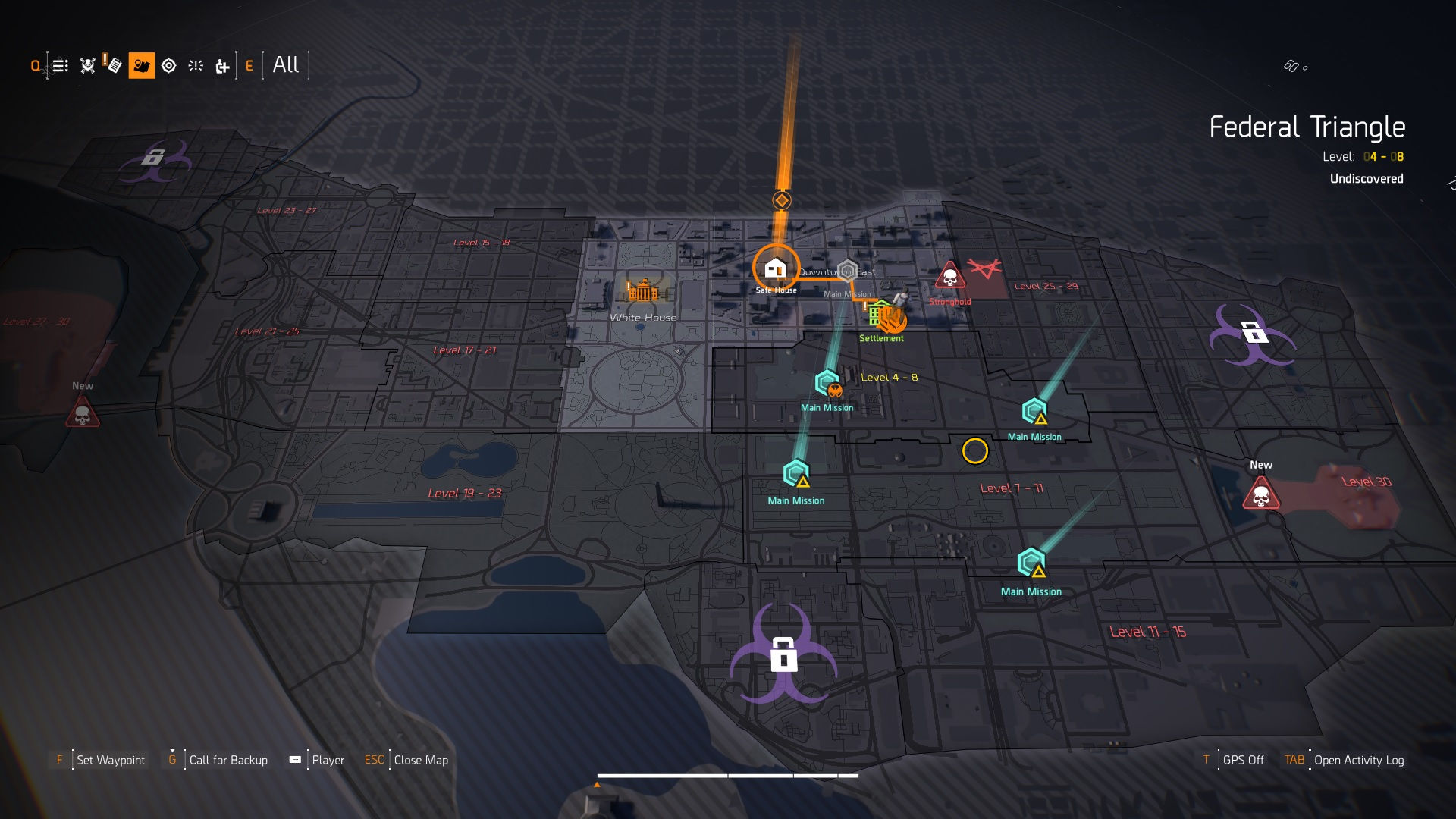 The location of four masks in The Division 2.