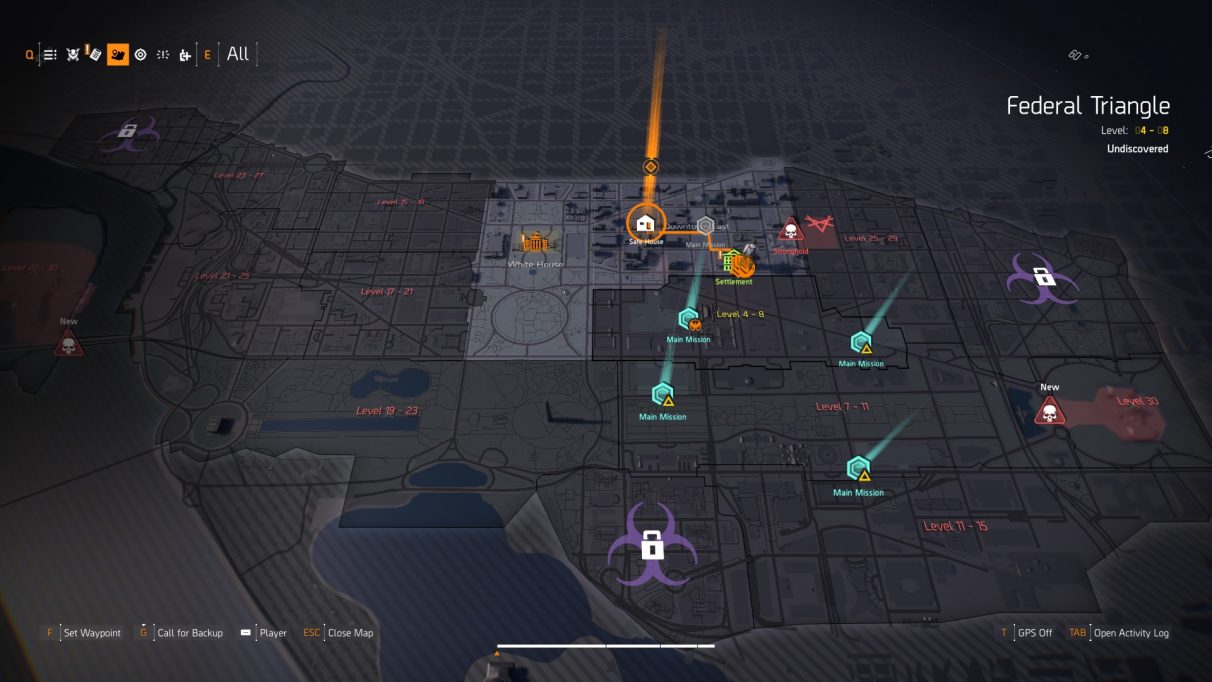 A view of the entire Division 2 map.