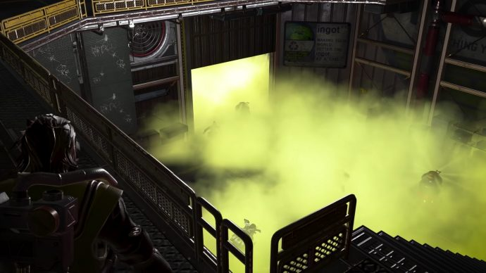 A screenshot of Caustic looking down upon a room filled with Nox gas.
