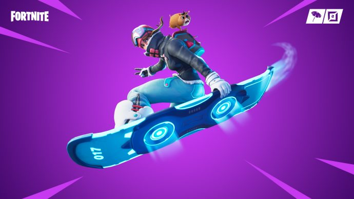 A player riding the driftboard.