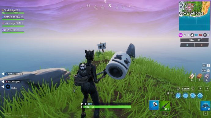 The most southern point of Fortnite's map is in Lucky Landing. Player is facing a sign with a S on a compass.