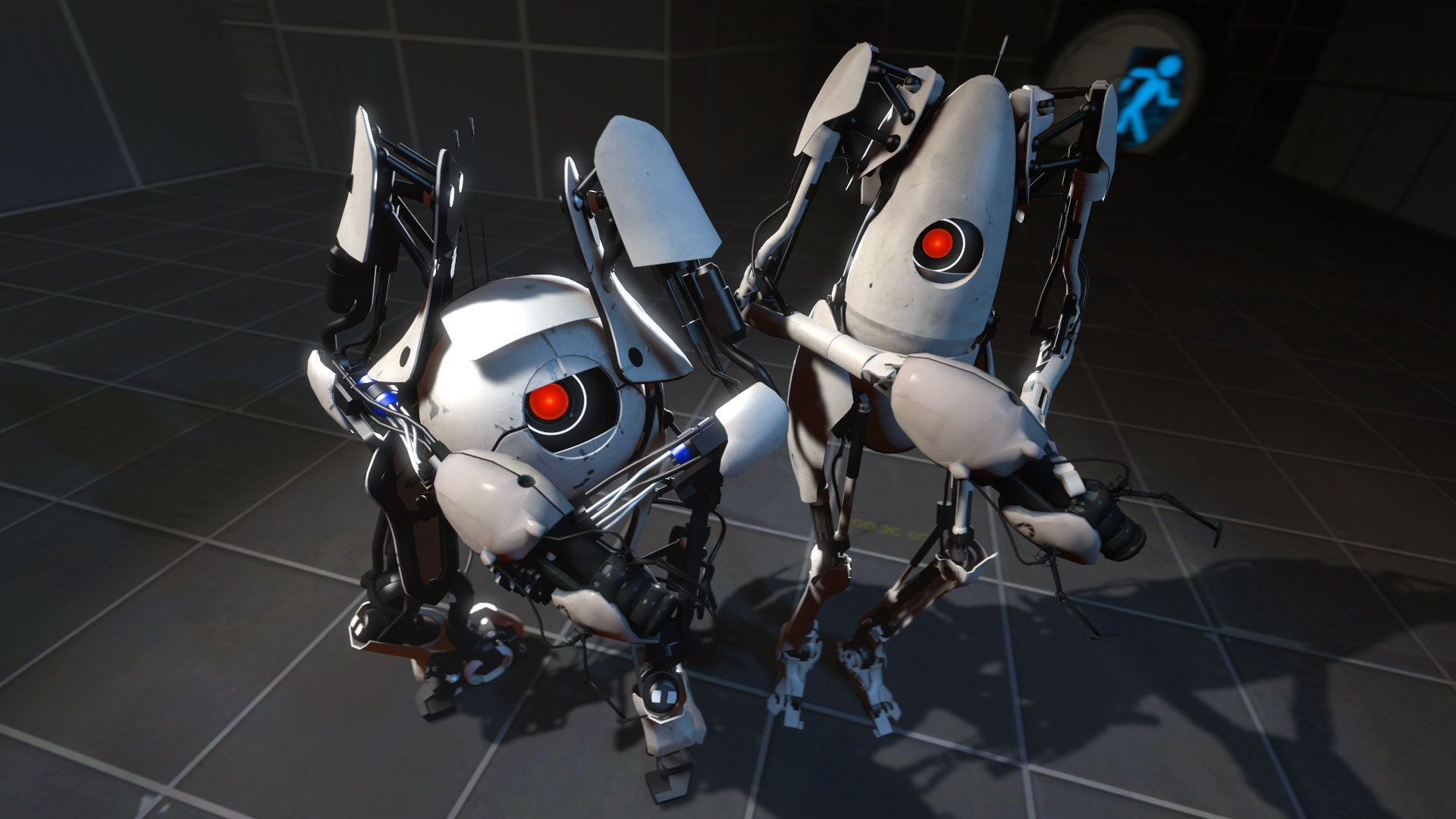 Two robots from Portal 2 pose for a photoshoot.