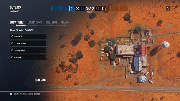 Deployment areas for the Outback map in Rainbow Six Siege.