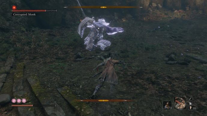 The Corrupted Monk is in his spinning attack that sees him rotate a number of times.