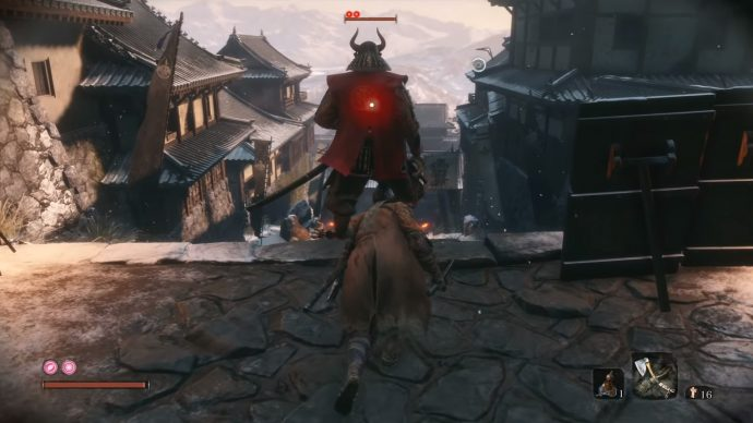 Sneaking up behind a General - a sub-boss in Sekiro.