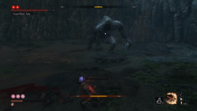 Fighting the headless ape in the middle of a cave.