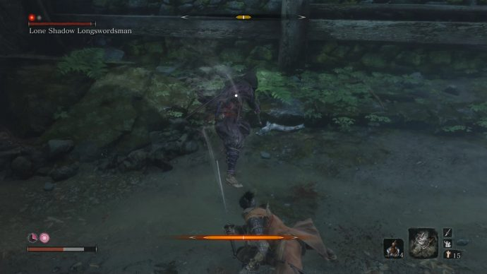 The Lone Shadow Longswordsman trying to kick the wolf.