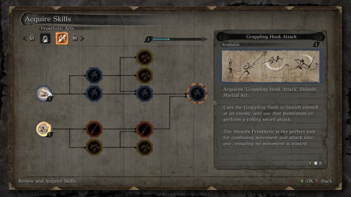 The Prosthetic skill tree in Sekiro: Shadows Die Twice.