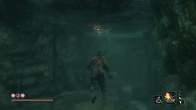 A treasure carp underwater with Sekiro.