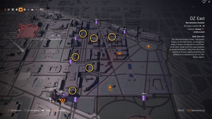 DZ East with all of the DZ Chest locations marked.