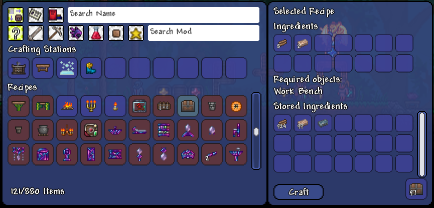 The Magic Storage mod and its crafting interface, for a less fiddly Terraria.