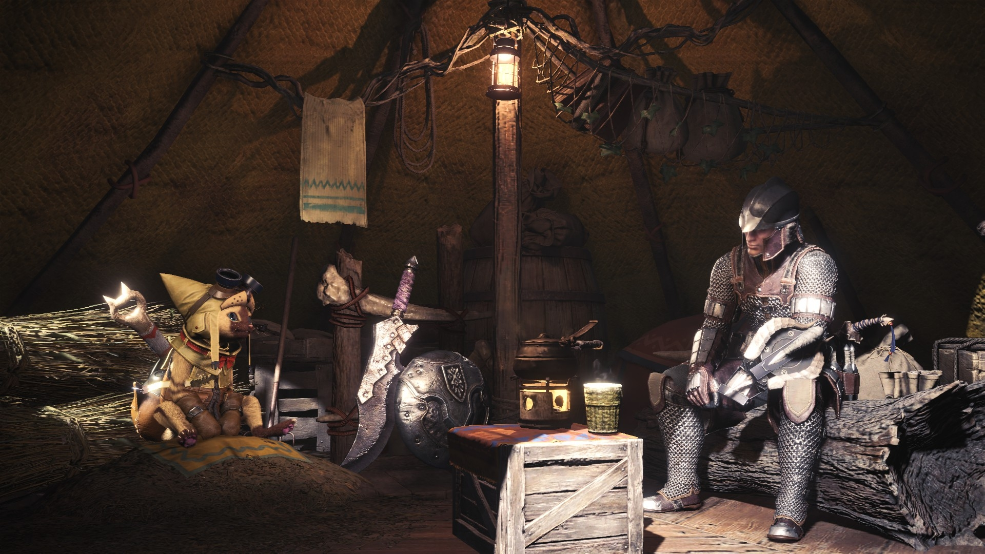 This is true: in promoting their new HD texture pack, Capcom have chosen five desultory, bland screenshots, including one of a man and cat looking bored in a brown tent.