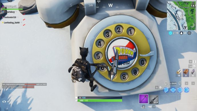 Hitting at the numbers on the Durrr Burger phone near Fatal Fields.