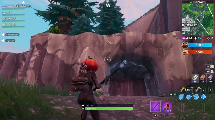 The entrance to the caves just north-east of Tilted Towers. The cave contains the jigsaw puzzle piece.