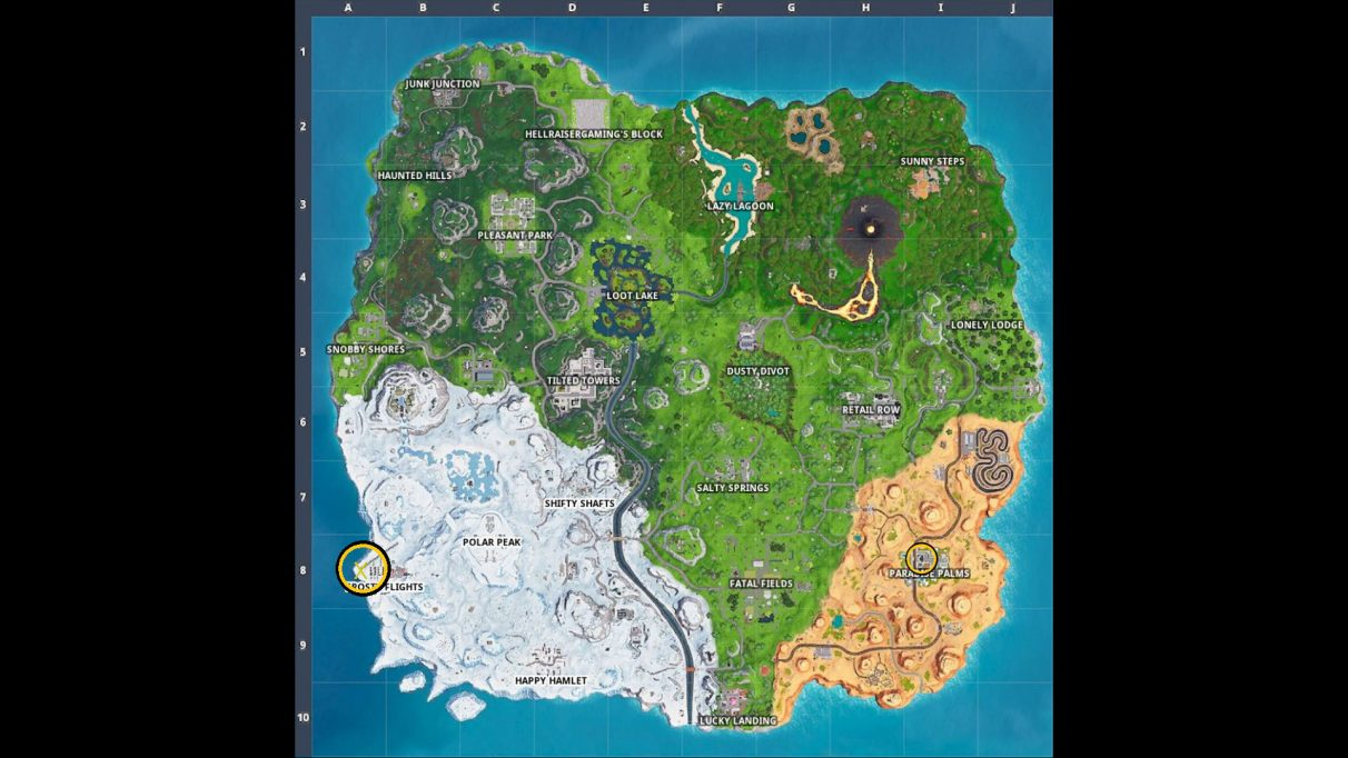 Two circles on the Fortnite map. The one above Paradise Palms shows where the map is. The one near Frosty Flights is where the treasure is.