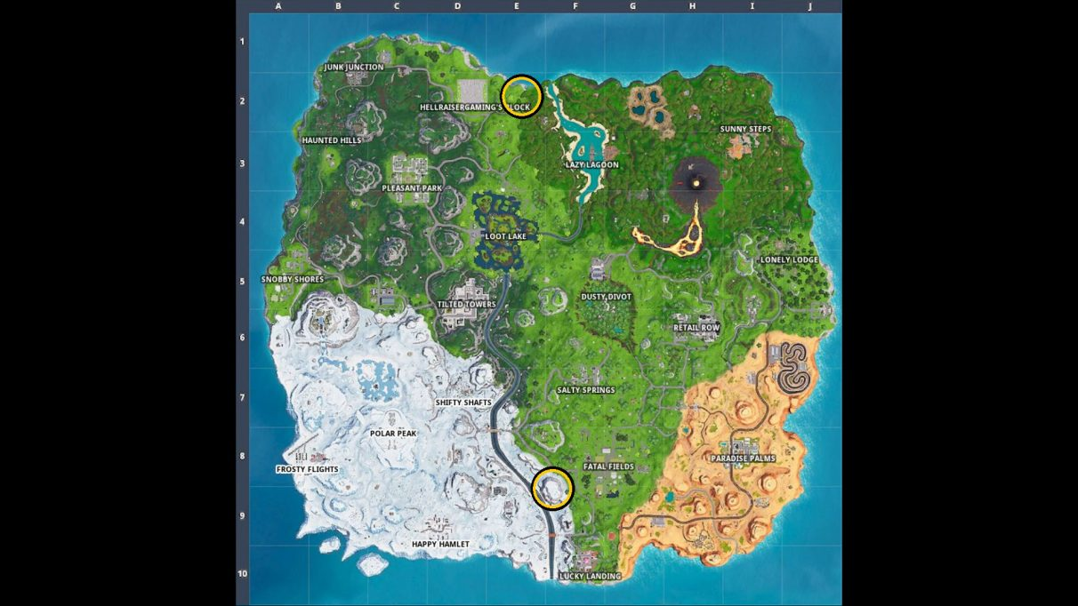 The locations of the two big telephones on the Fortnite map. The Fatal Fields one is first, then The Block.