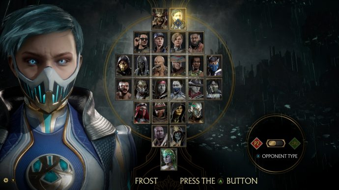 Frost is highlighted in the character selection screen.