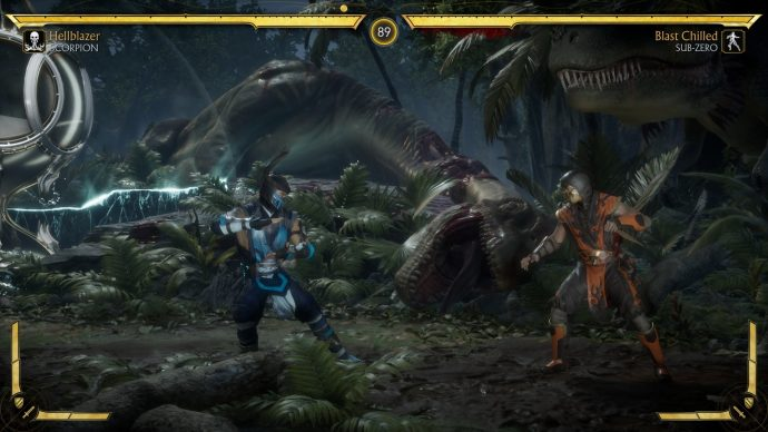 Scorpion and Sub-Zero are fighting in the Prehistoric Hourglass stage. Dinosaurs are in the background.