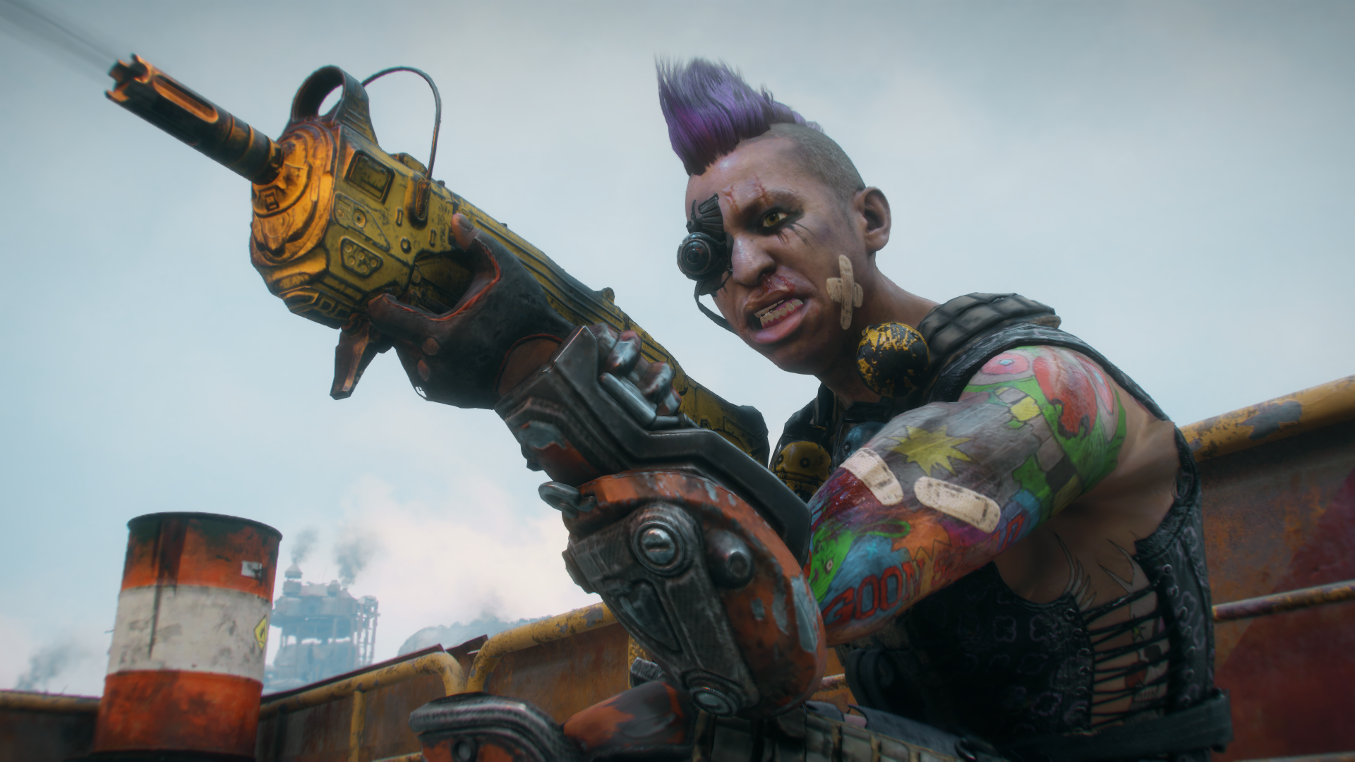 A screenshot of a goon from Rage 2, a dude with terrible sleeve tattoos and a scrubbing purple mohawk, wielding a big yellow gun