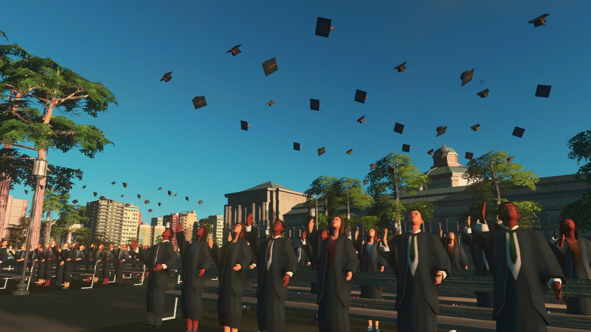 Moments before the entire graduating class was killed by falling mortar boards spilled from a passing aeroplane.