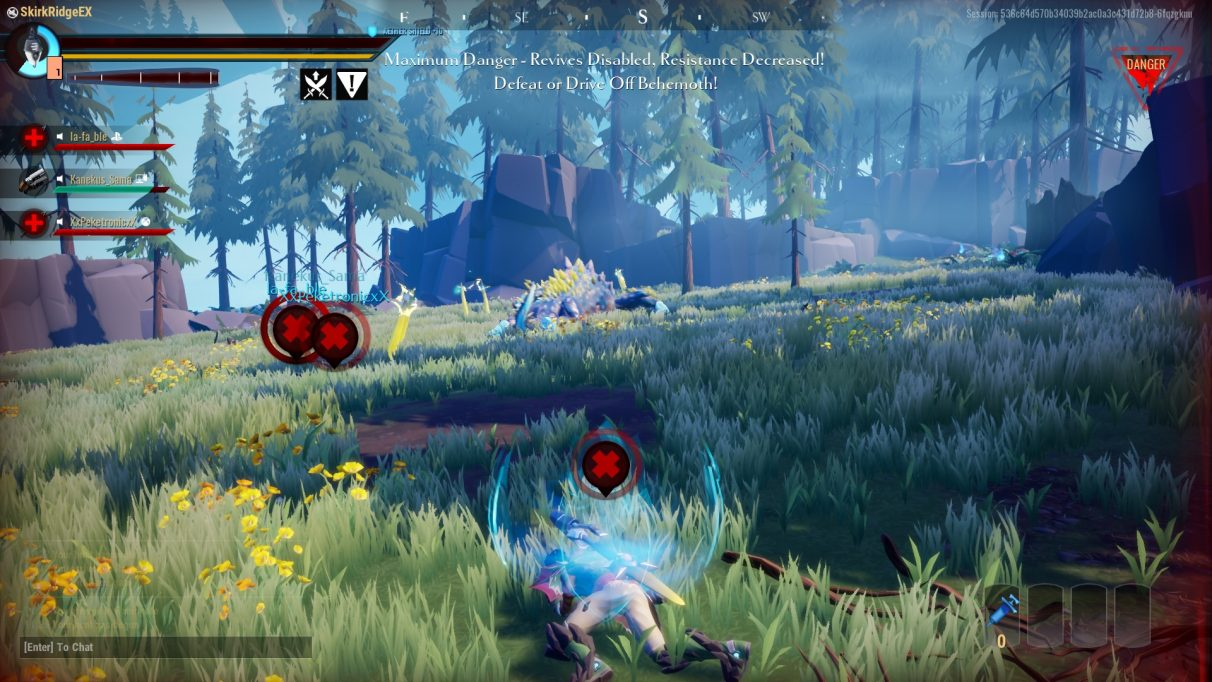 Player is downed but can't be revived because of the Danger status at the top right of the screen.