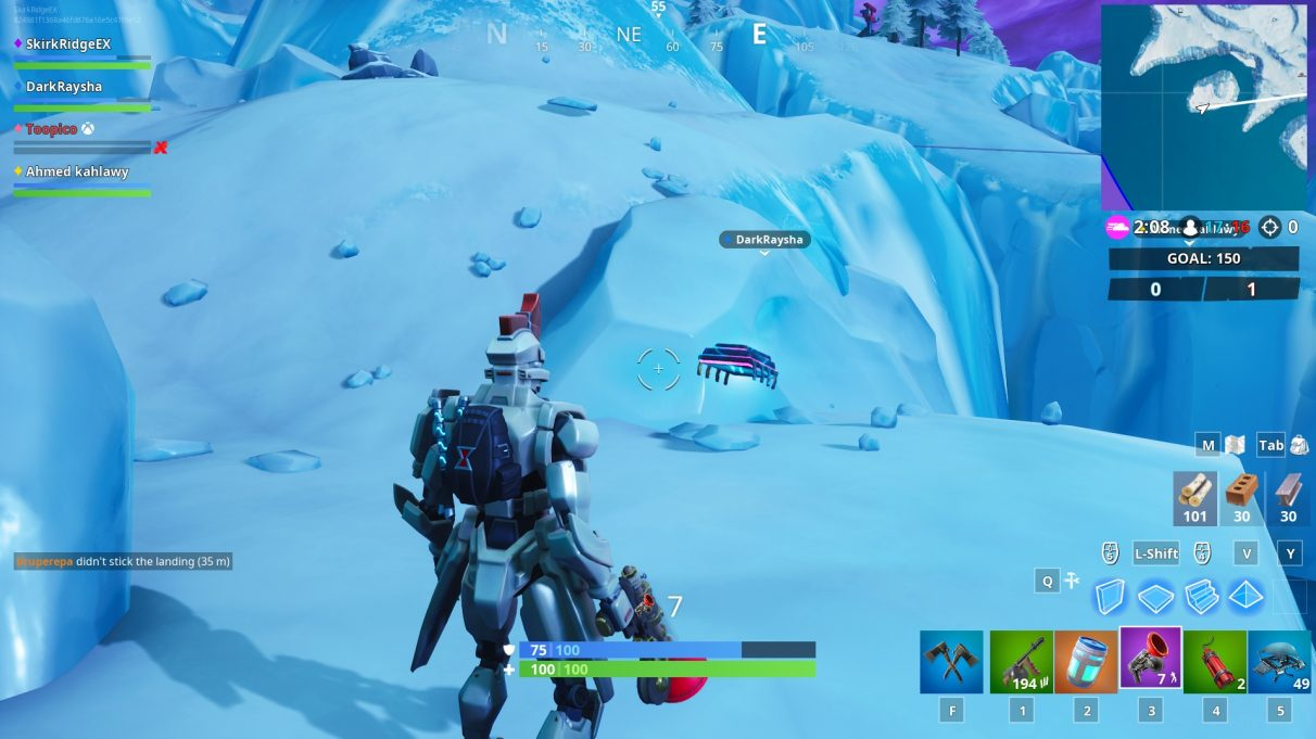 Dressed in the Sentinel skin, the furthest of the two frozen islands to the south-west of the map that has ziplines going to and from it, contains the Fortbyte.