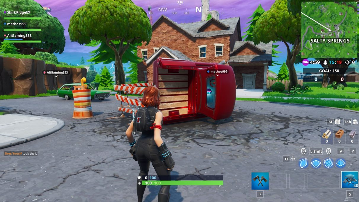 The Fortbyte in Salty Springs is inside an upturned red lorry that's in the middle of the road.