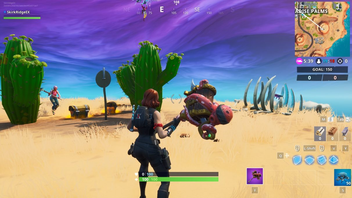 The Fortbyte is in a pile of bones next to a collection of Cacti in a wedge shape on top of a mountain in the desert.