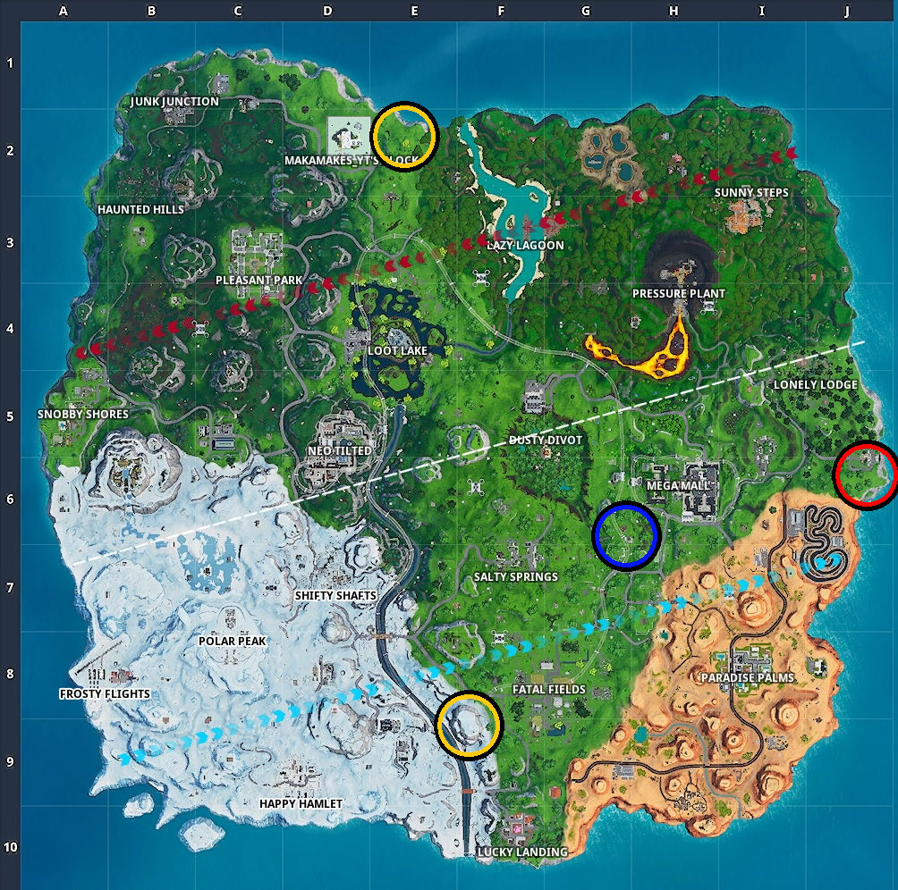 All the locations you need to visit for this challenge.