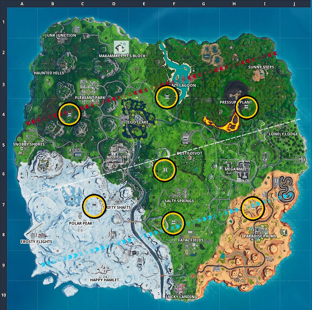 All seven of the Sky Platforms highlighted on the Fortnite map.