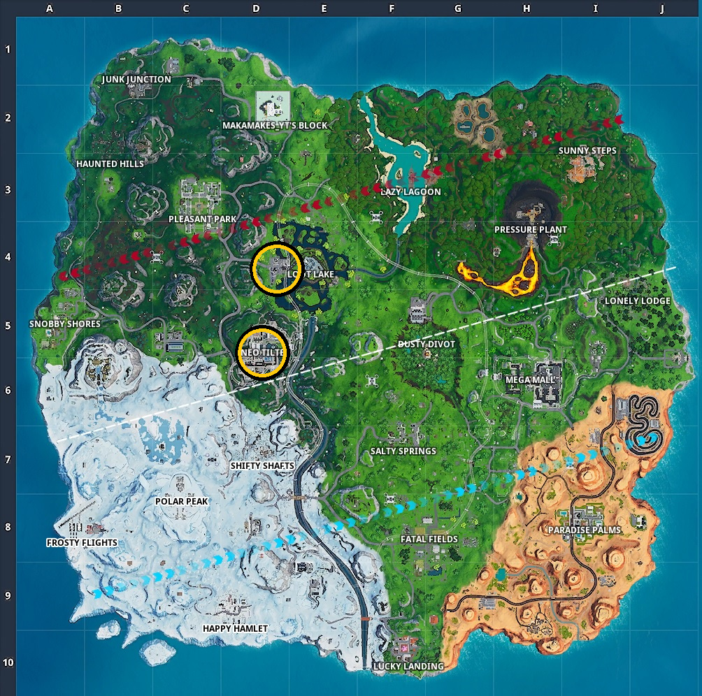 Vent locations in Season 9 of Fortnite.