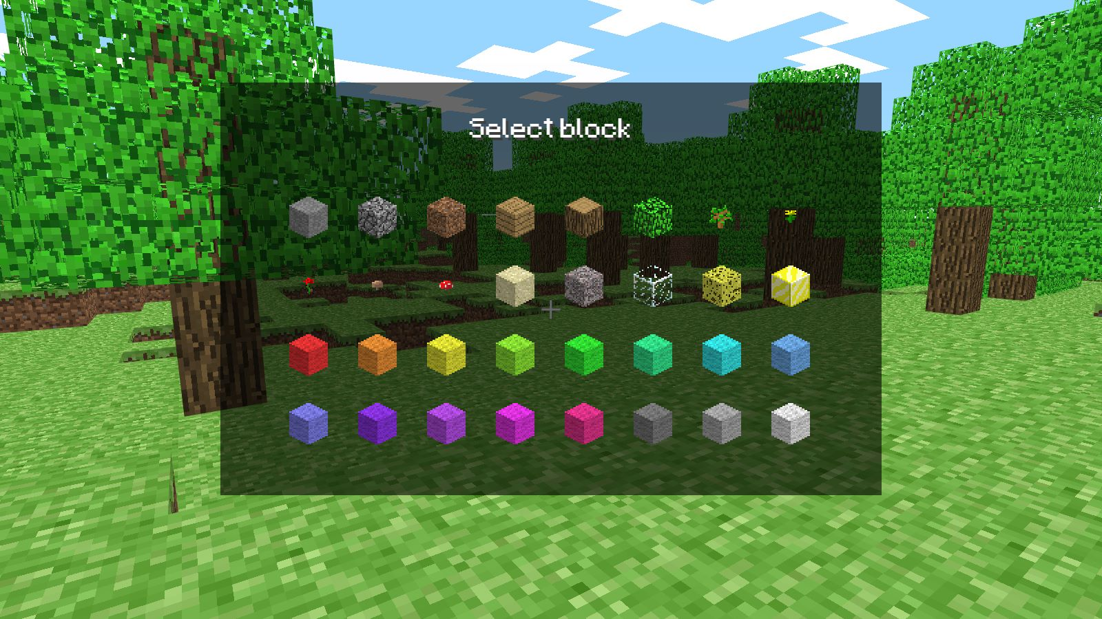 The original 32 blocks, some of which aren't even blocks, and many are just recolours.