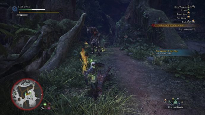Geralt is fleeing from some Jagras to try and drink a healing potion. The Leshen is briefly stunned.