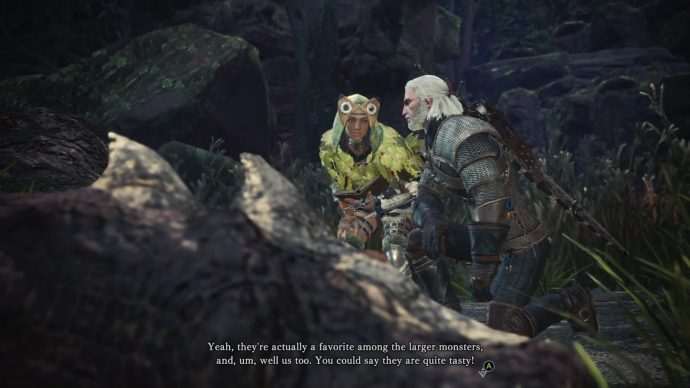 Geralt is standing over a dead Aptonoth with the researcher, examining the corpse.