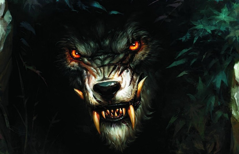 A werewolf snarling with its oversized teeth, staring into your soul.