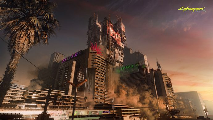 Corporations control the skyscrapers and days of Cyberpunk 2077. Night City is filled with corpo-dominated skyscrapers such as those pictured.