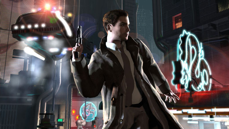 Ray McCoy out to pick up dinner in a Blade Runner game wallpaper.