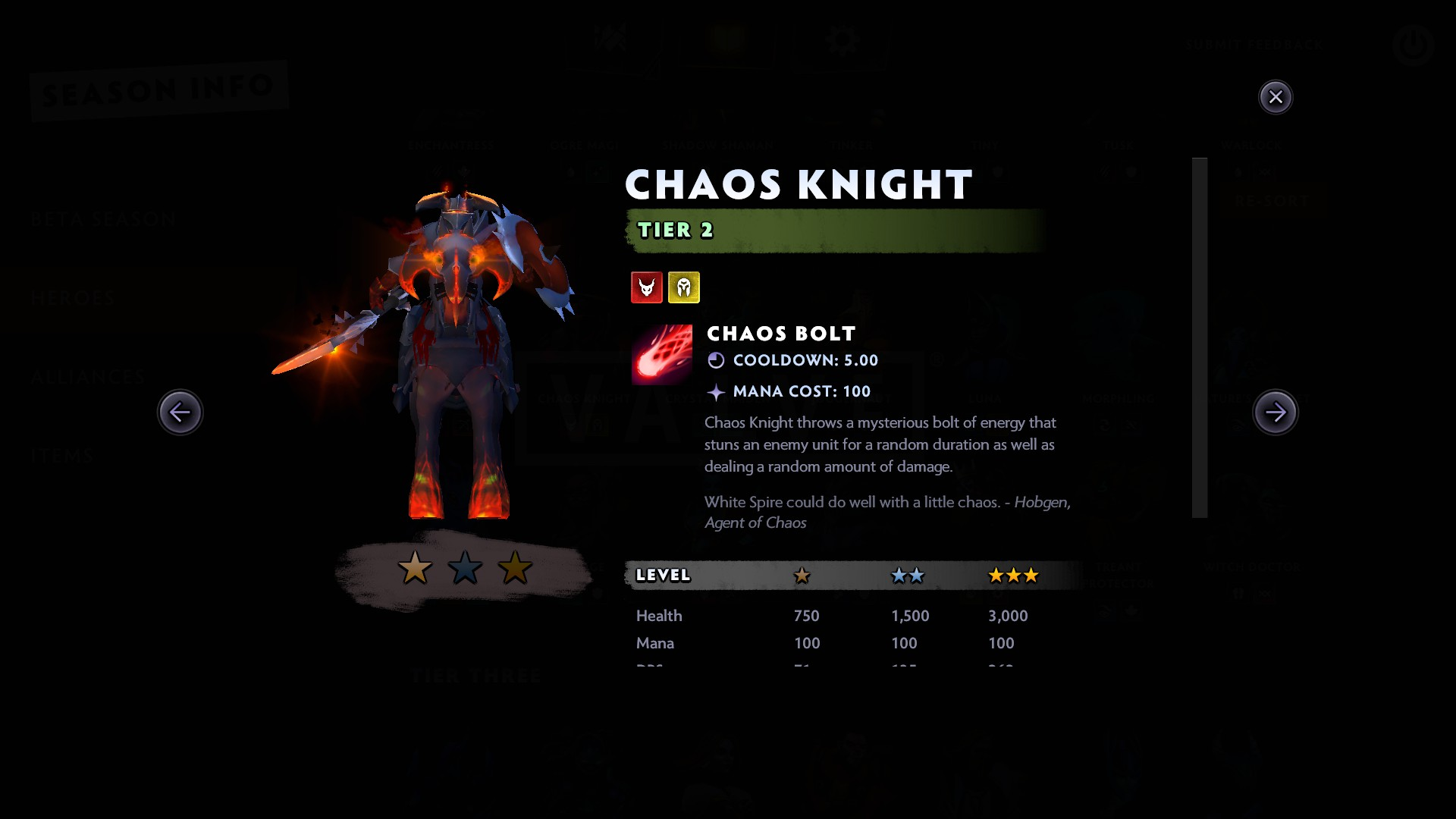 Chaos Knight languishes in B Tier because Knights just aren't that good.