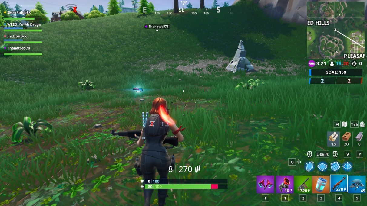 The Fortbyte between Pleasant Park and Haunted Hills, marked by the stone slab.